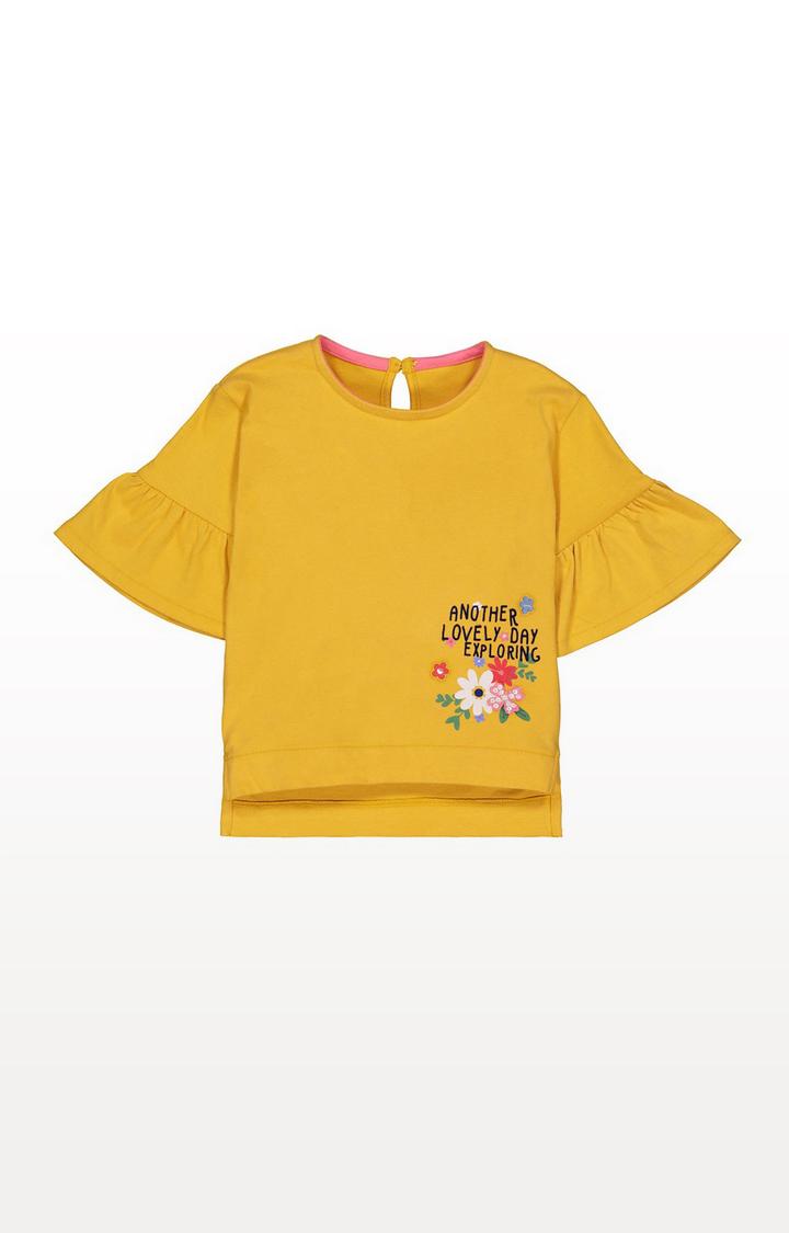 Mothercare | Mustard Flute Sleeve T-Shirt