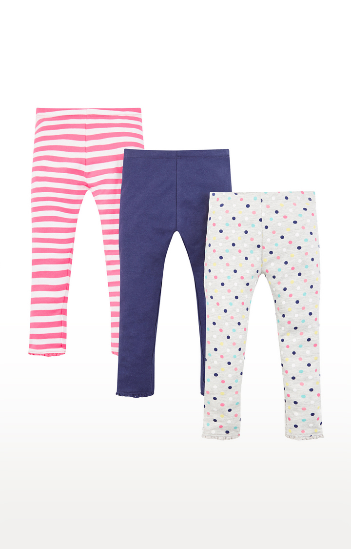 Mothercare | Spot And Stripe Leggings - 3 Pack
