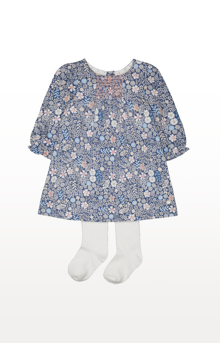 Mothercare | Floral Smock Dress And Tights Set