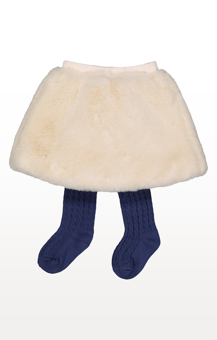 Mothercare   Cream Faux Fur Skirt and Tights