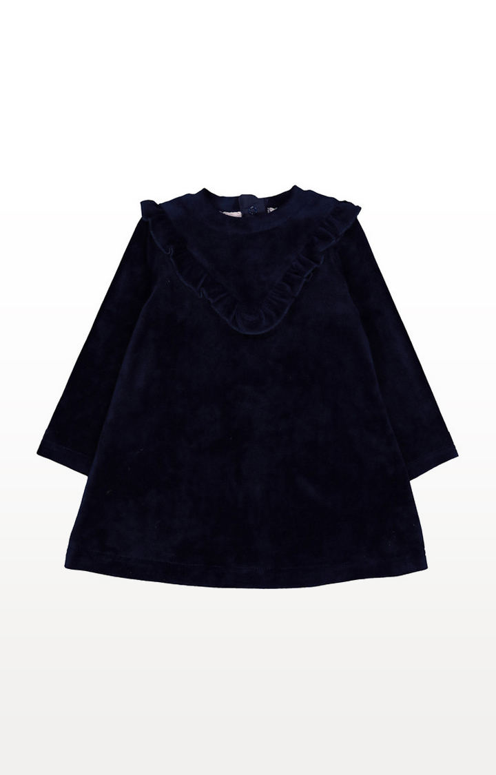 Mothercare | Navy Blue Velvet Frill Dress