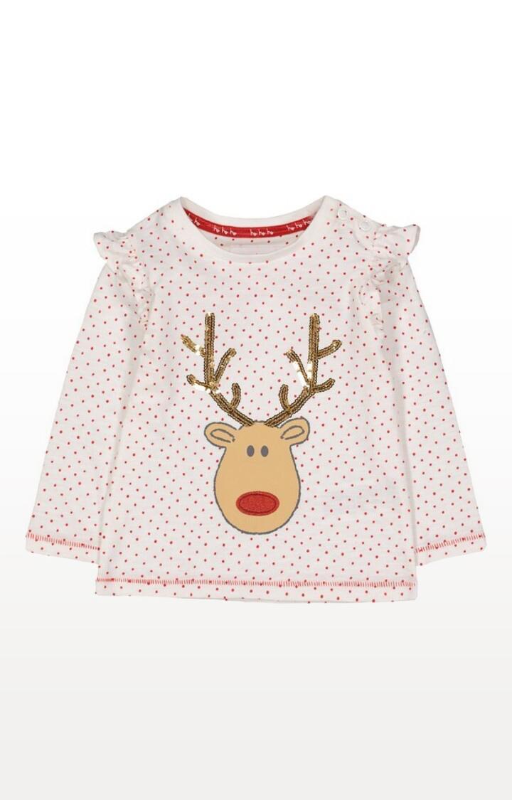 Mothercare | White Reindeer Spot T-Shirt