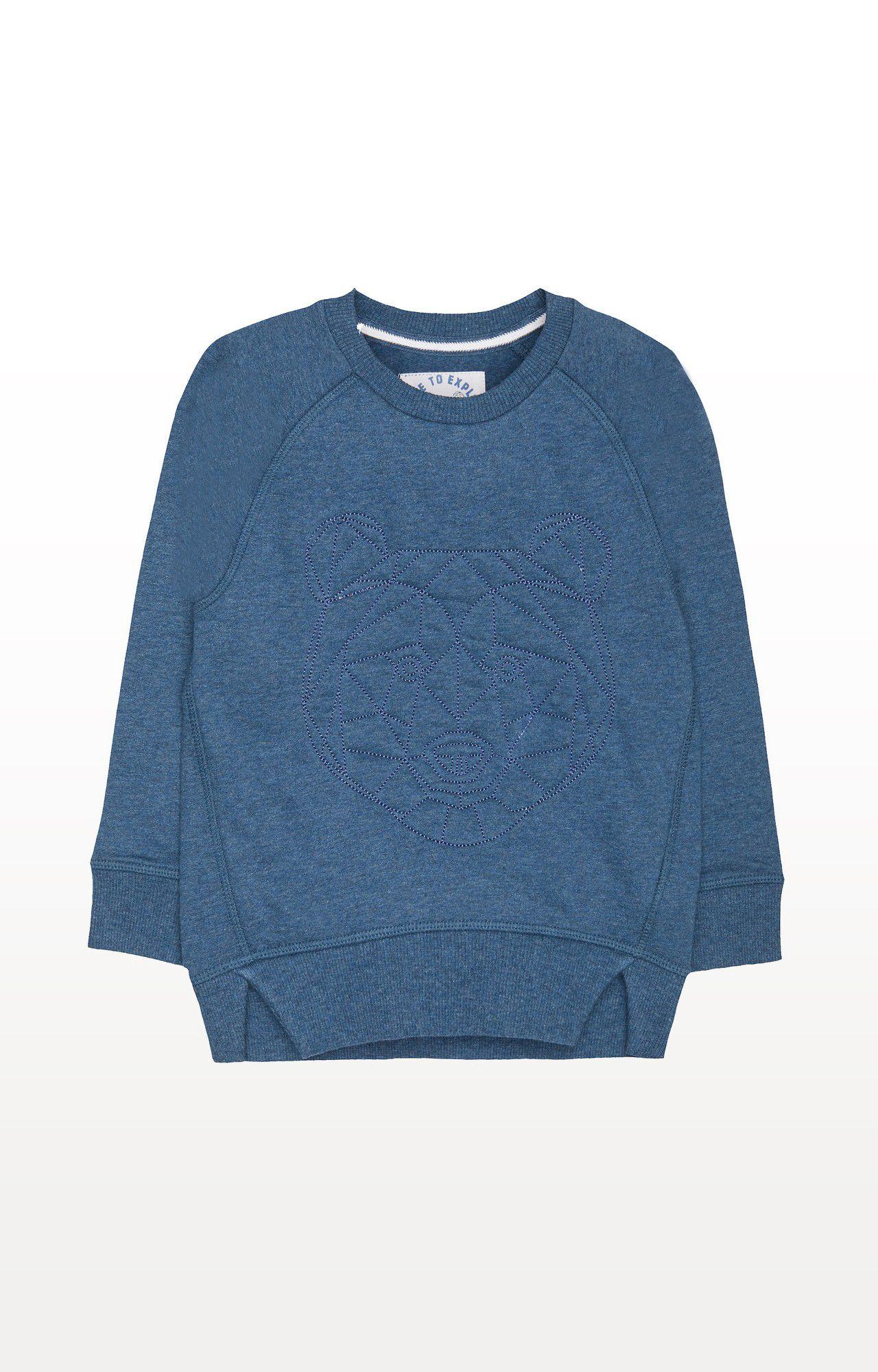 Mothercare | Blue Printed Geo Bear Sweat Top