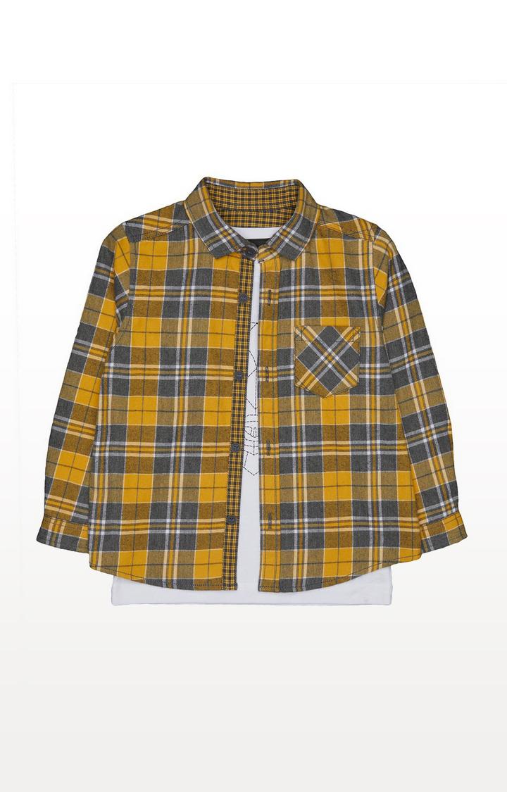 Mothercare | Yellow Checked Shirt And Bear T-Shirt