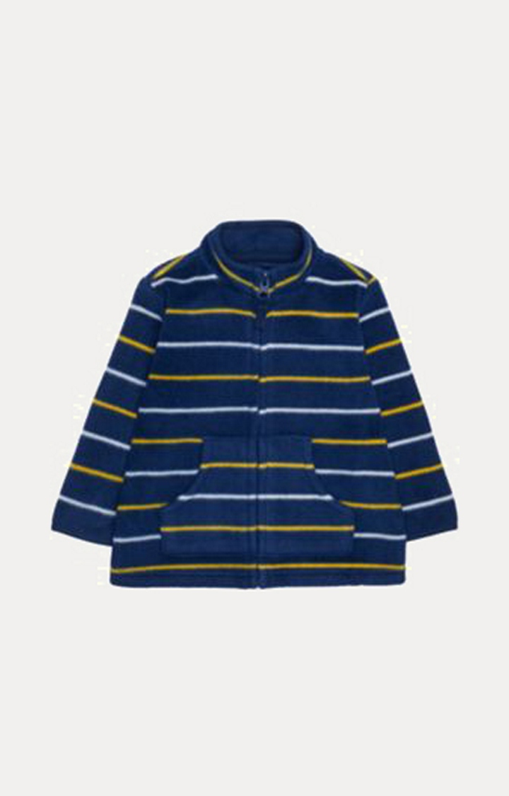 Mothercare | Navy, Yellow And White Stripe Fleece