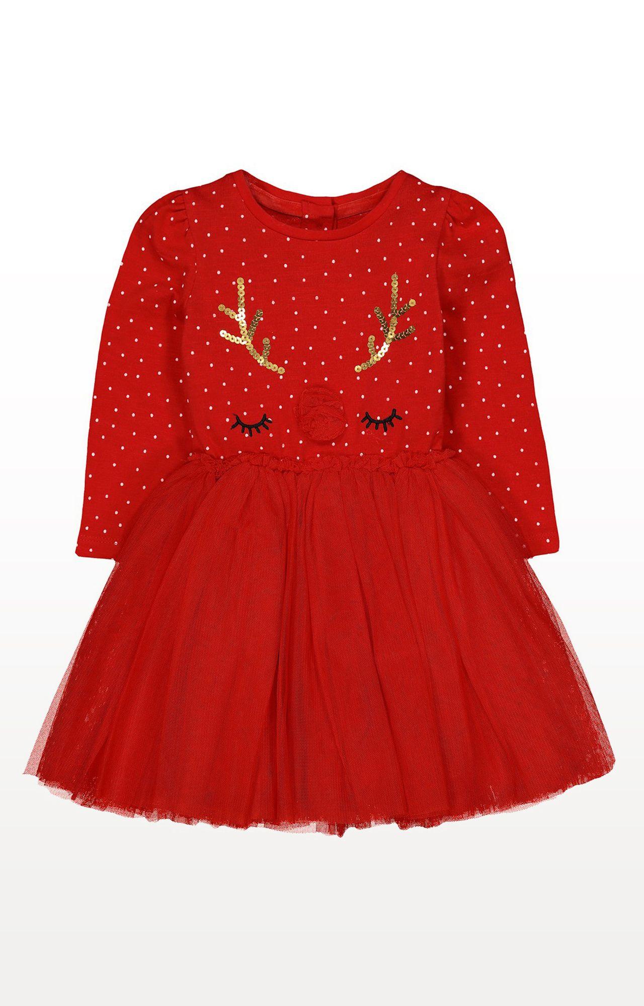 Mothercare | Red Printed Reindeer Twofer Dress