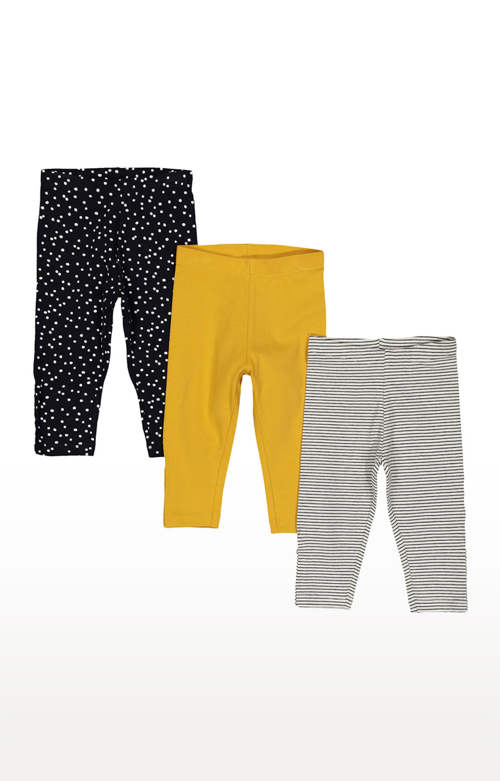 Mothercare | Black, Yellow and Grey Printed Trousers - Pack of 3