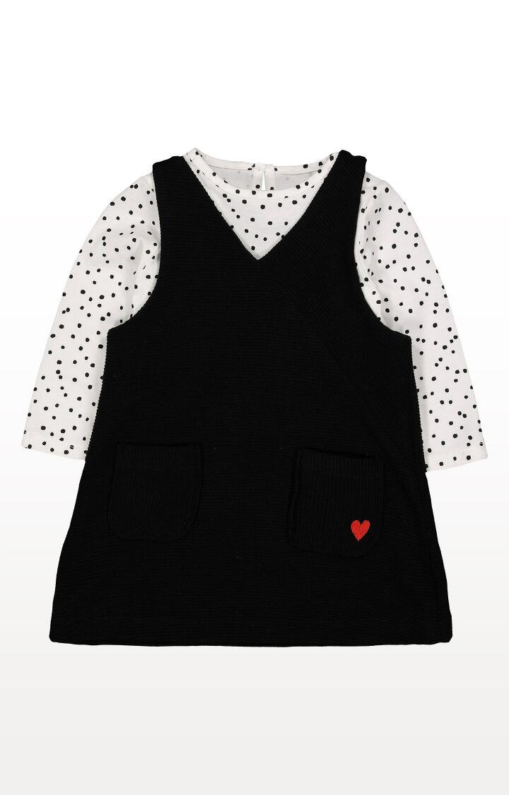 Mothercare | Black Spot Pinny Dress and T-Shirt Set