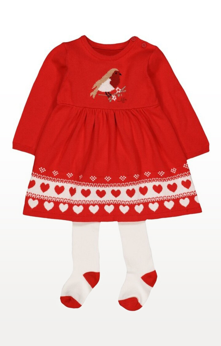 Mothercare   Heritage Red Knitted Robin Dress With Tights Set