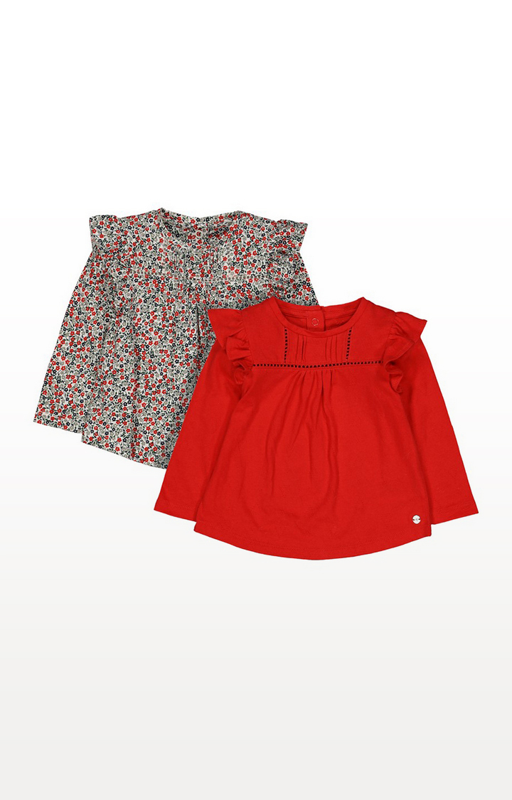 Mothercare | Floral And Pointelle T-Shirts - 2 Pack