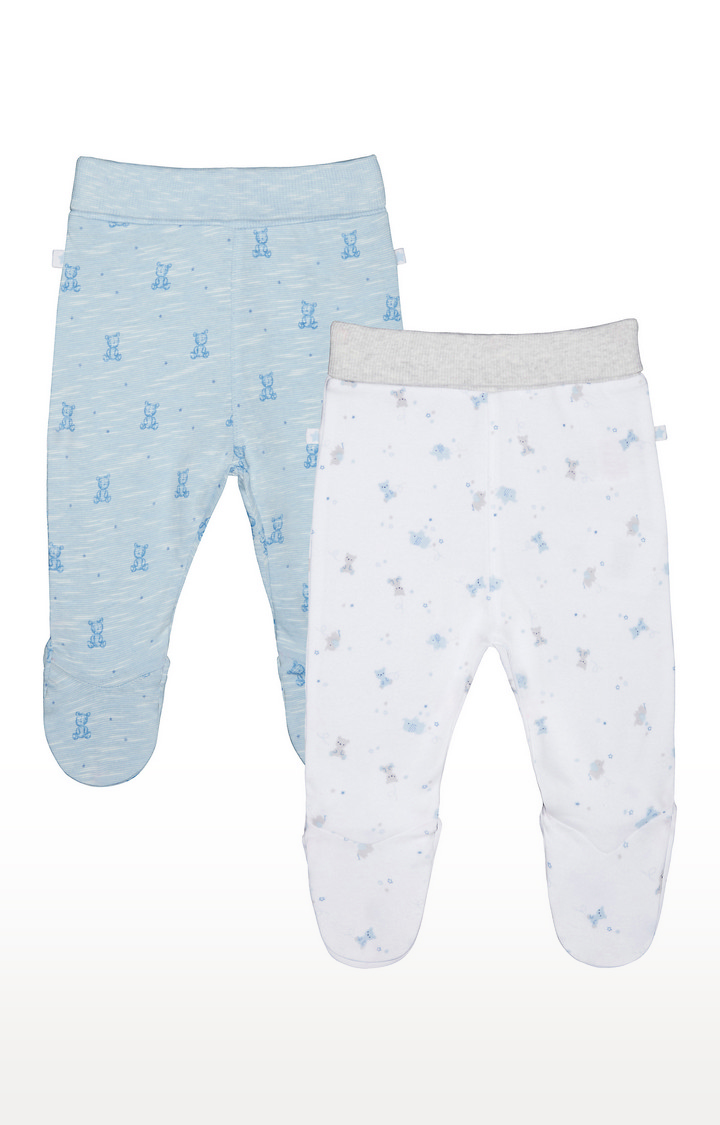 Mothercare   Blue and White Printed Trousers - Pack of 2