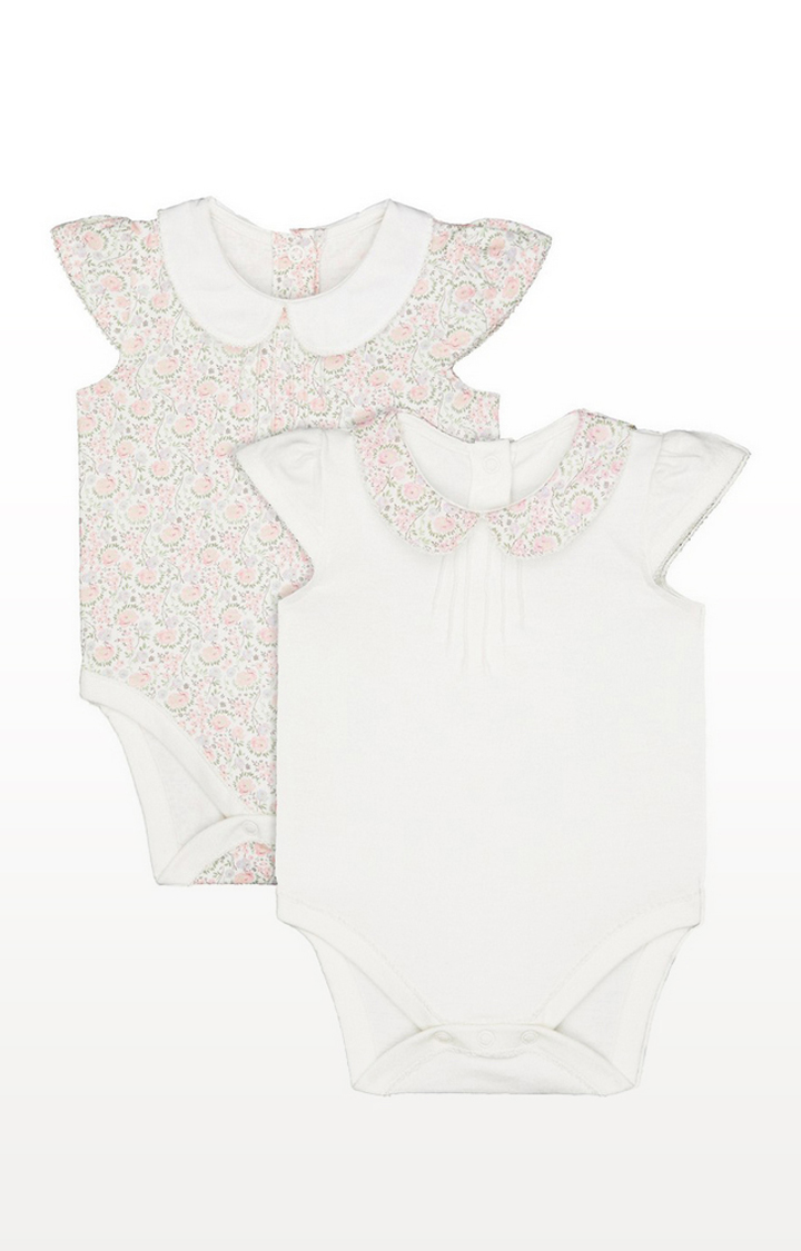 Mothercare   Floral And White Collared Bodysuits - 2 Pack