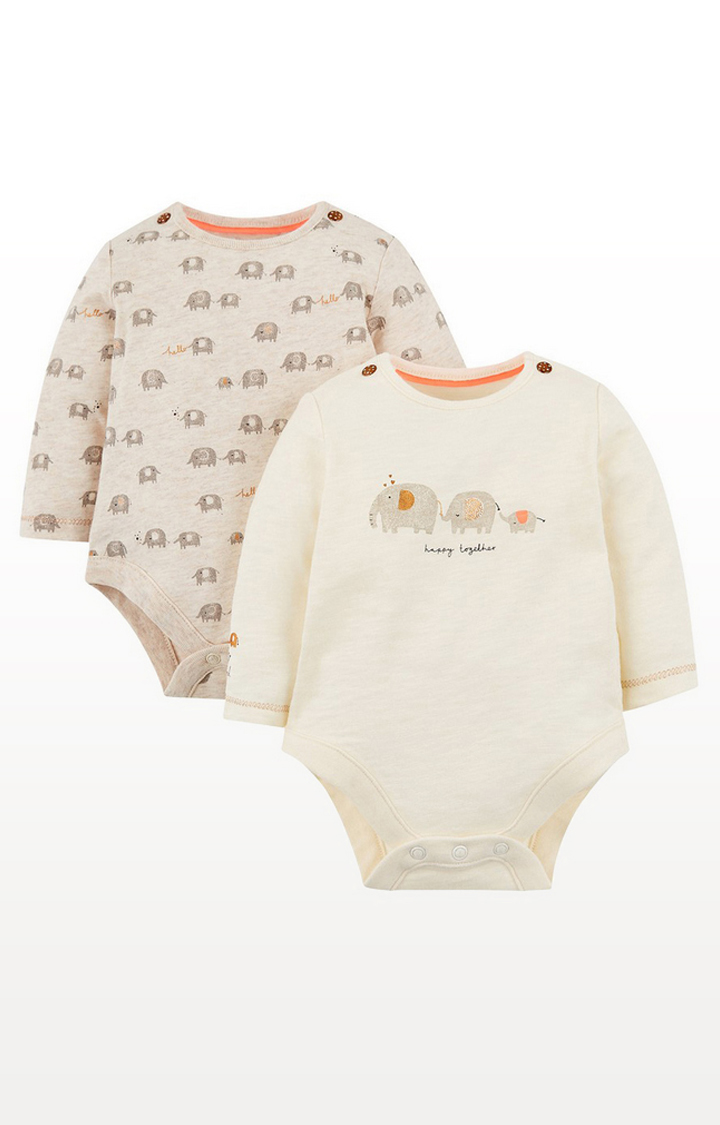 Mothercare | Happy Together Elephant Boysuits - 2 Pack