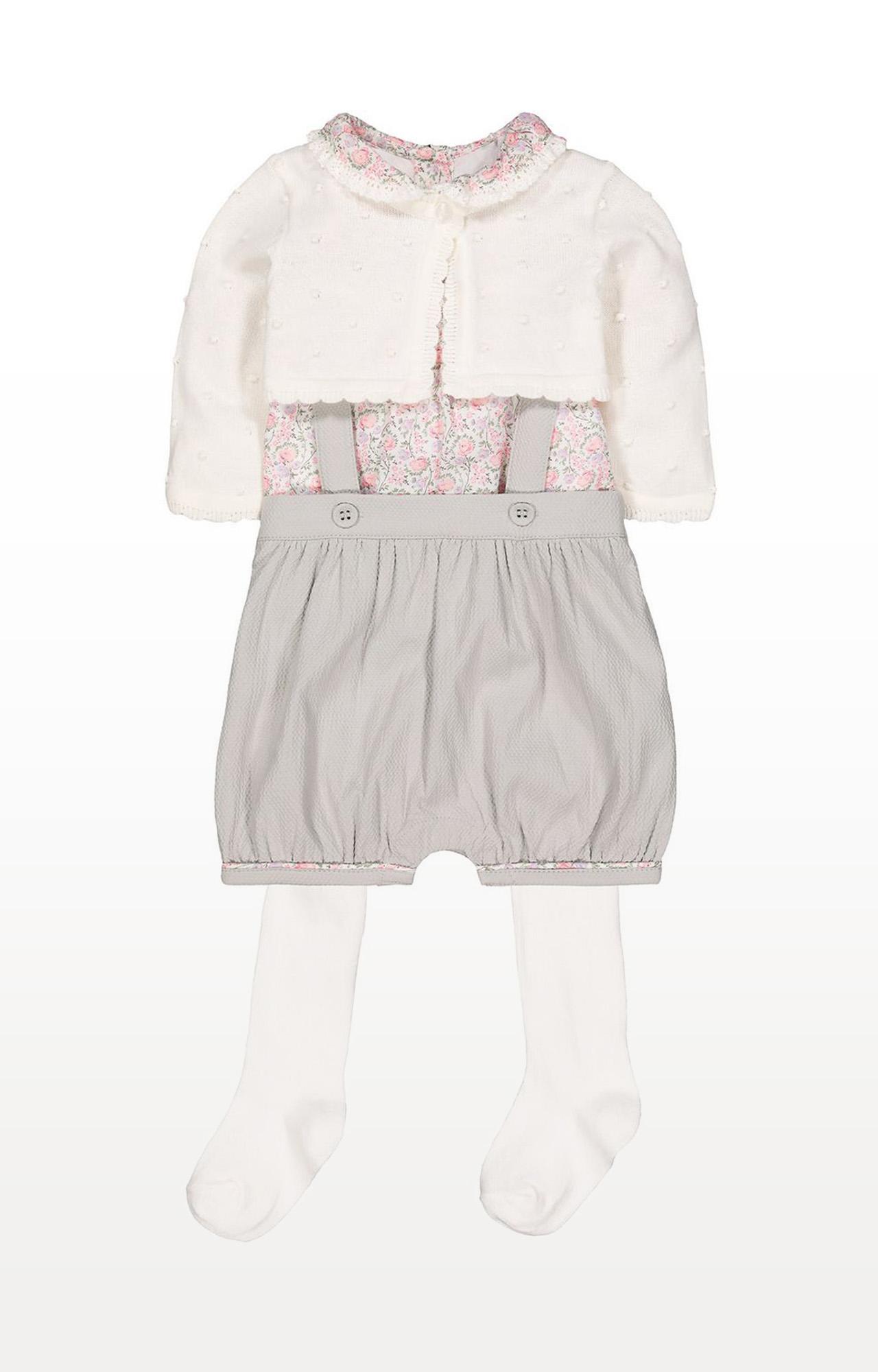 Mothercare | Grey Printed Bibshorts, Blouse, Cardigan and Tights Set