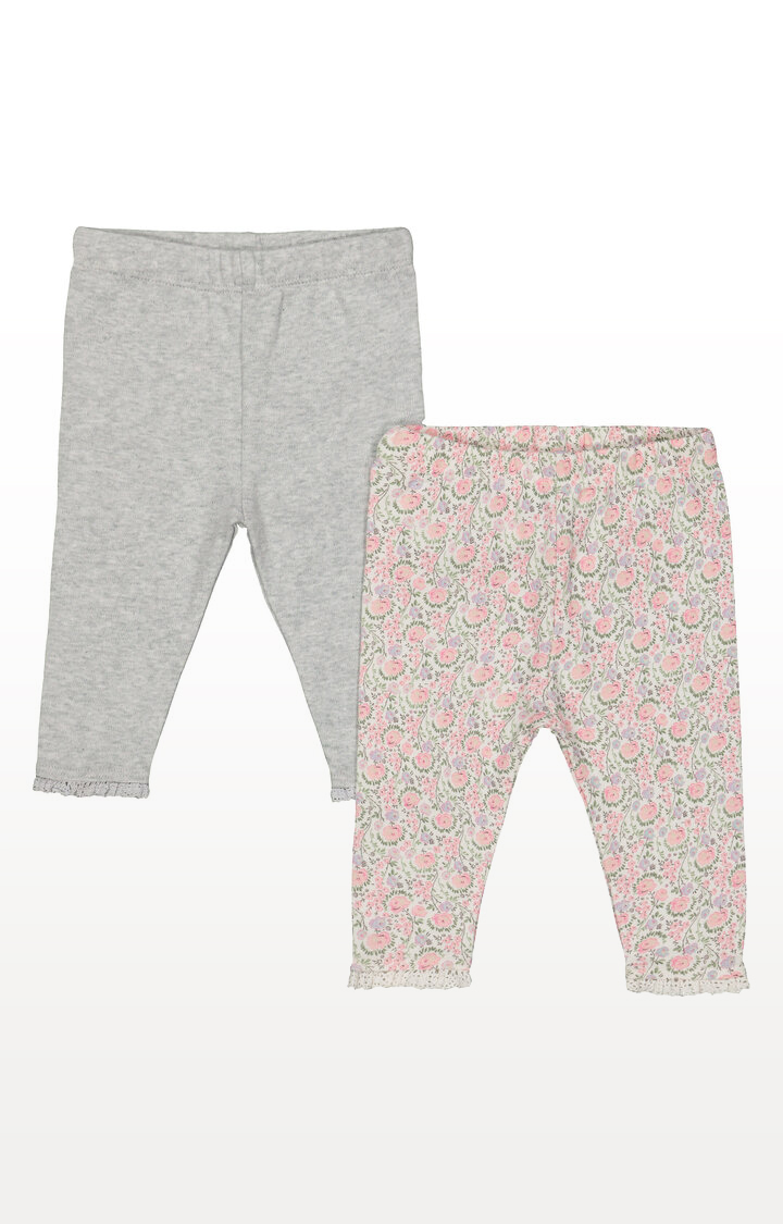 Mothercare | Grey and Floral Leggings  Pack of 2