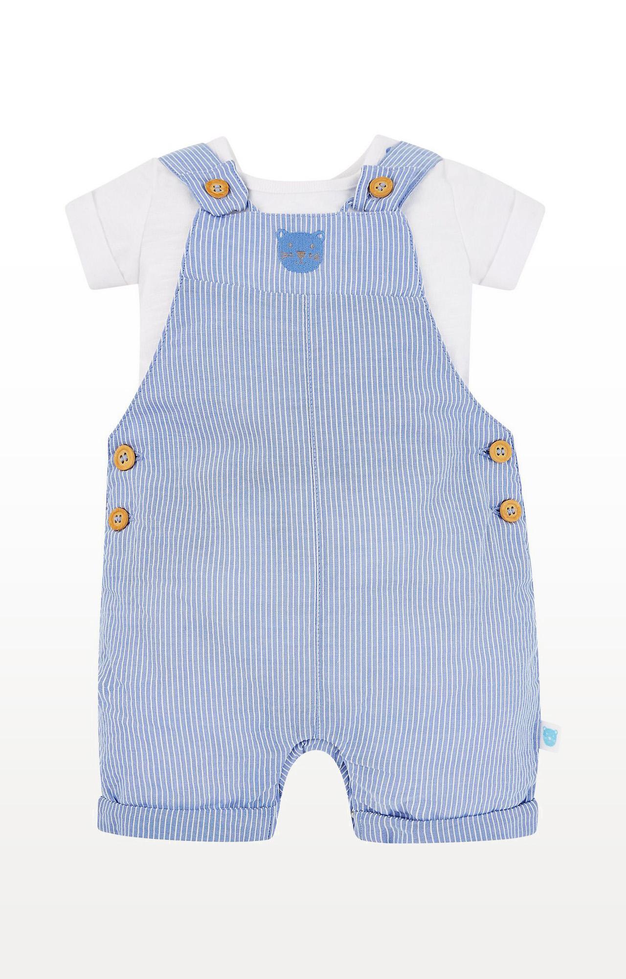 Mothercare | Blue Striped Bear Bibshorts and White Bodysuit Set