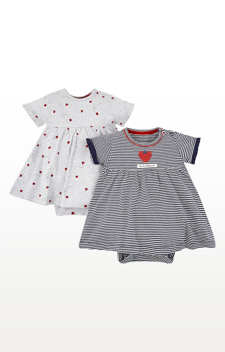 Mothercare   Strawberry and Ladybird Romper Dresses - Pack of 2