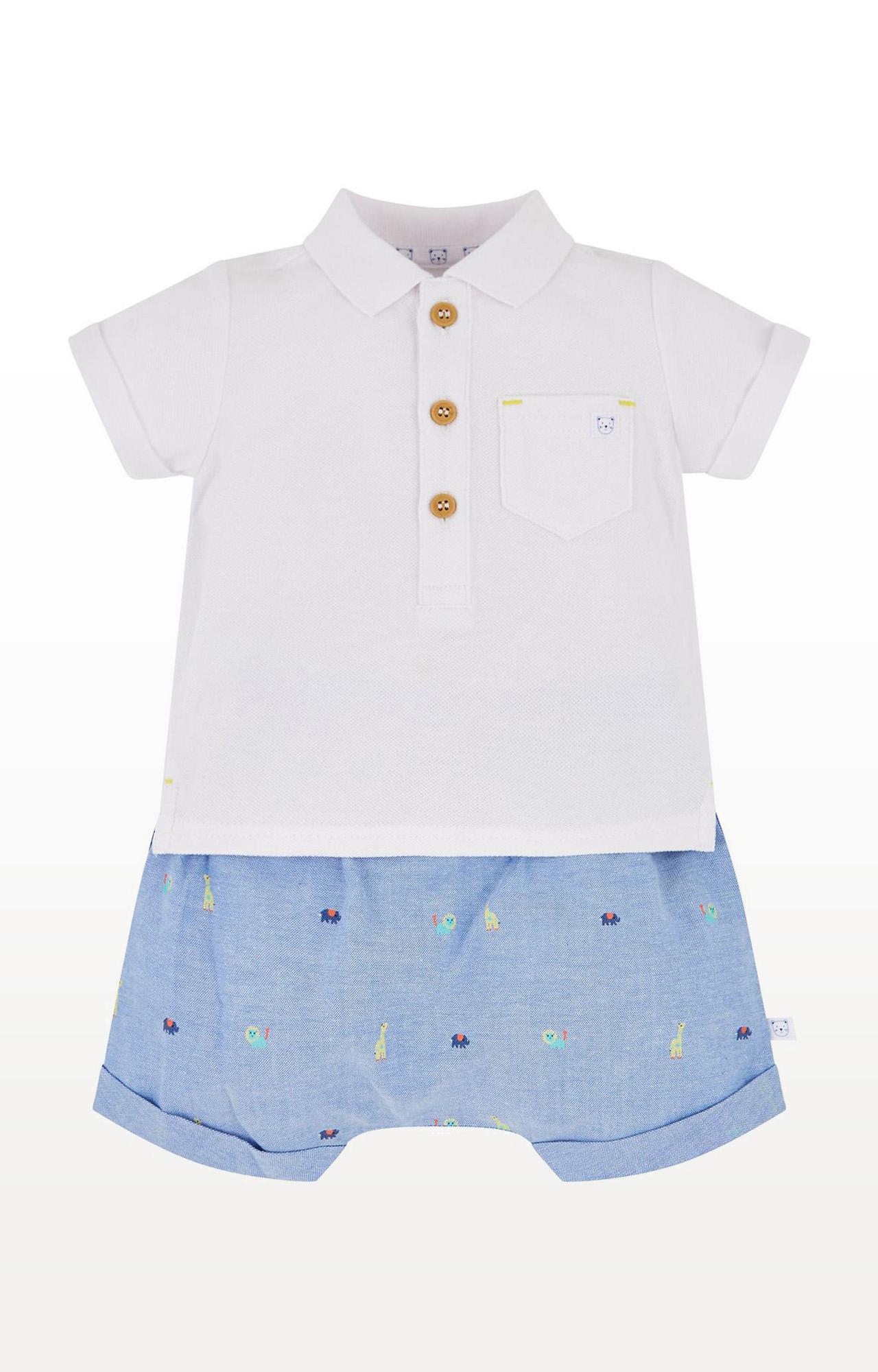 Mothercare | Denim Printed Chambray Shorts and Polo Set