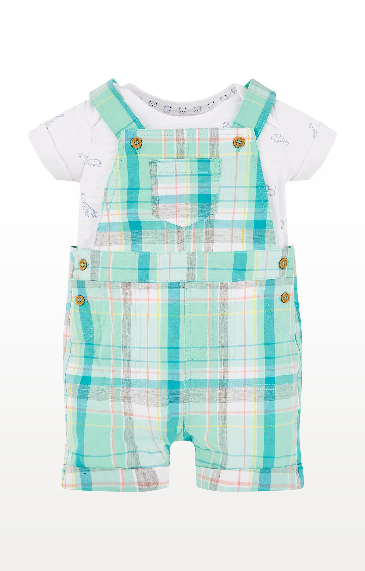 Mothercare | Green Checked Bibshorts and Animal Bodysuit Set