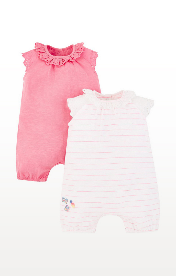 Mothercare | Pink Broderie Rompers - 2 Pack