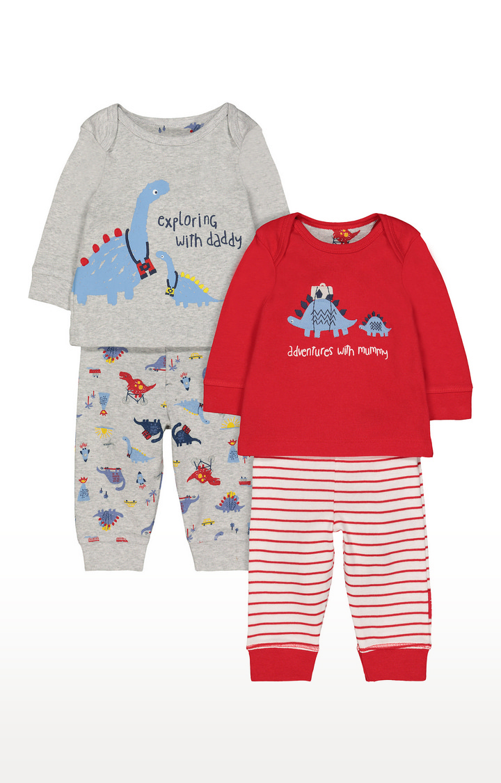Mothercare | Red & Grey Printed Nightsuit - Pack of 2