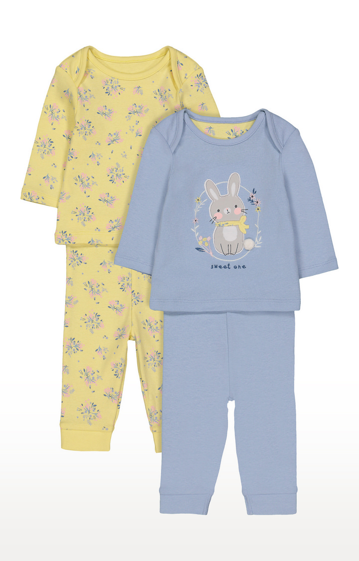 Mothercare   Yellow and Blue Printed Nightsuit