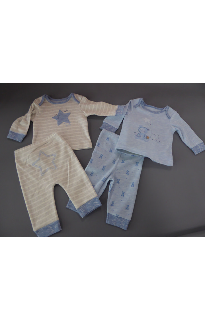 Mothercare   Blue and Grey Printed Nightsuit - Pack of 2