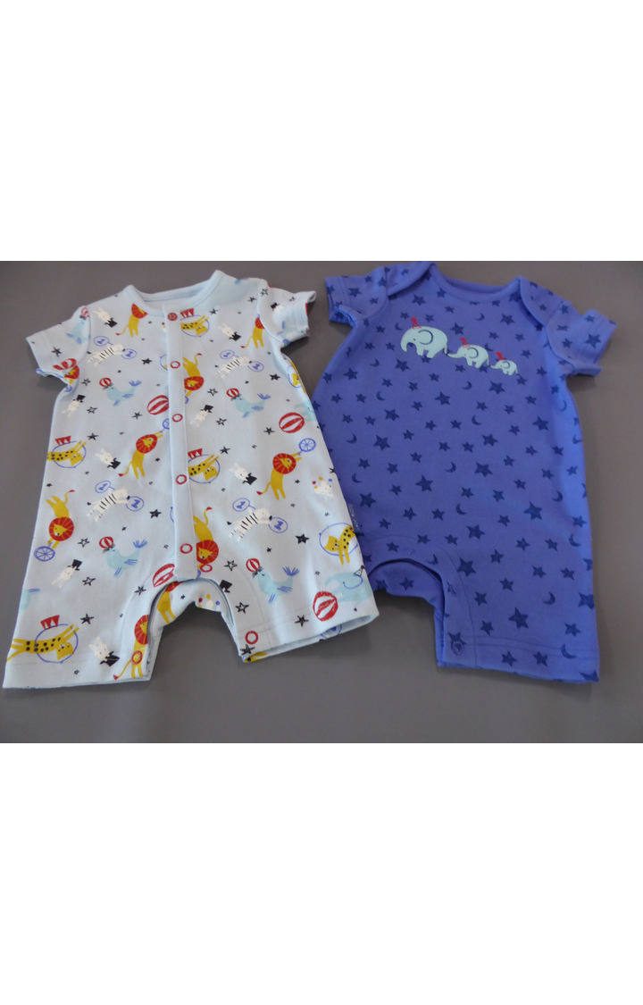 Mothercare | Blue Printed Romper - Pack of 2