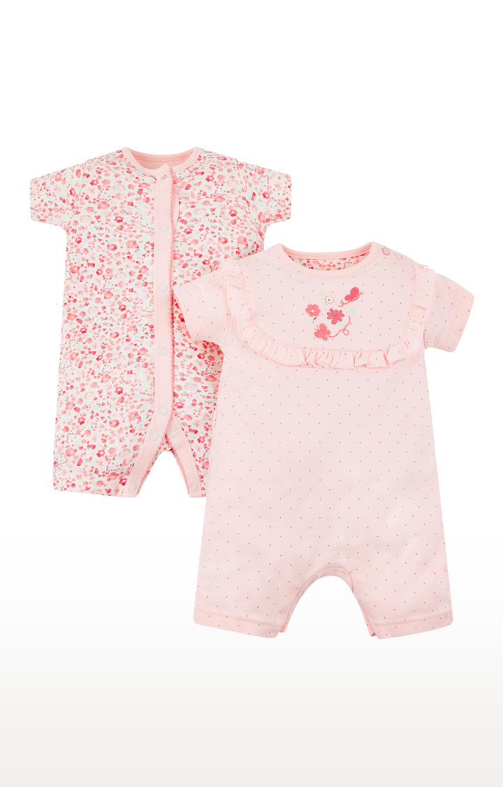 Mothercare | Pink Printed Romper - Pack of 2