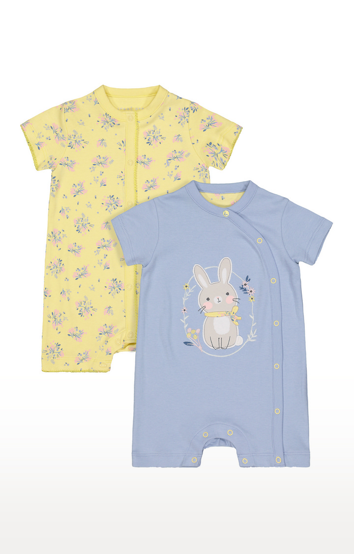 Mothercare   Blue and Yellow Printed Romper - Pack of 2