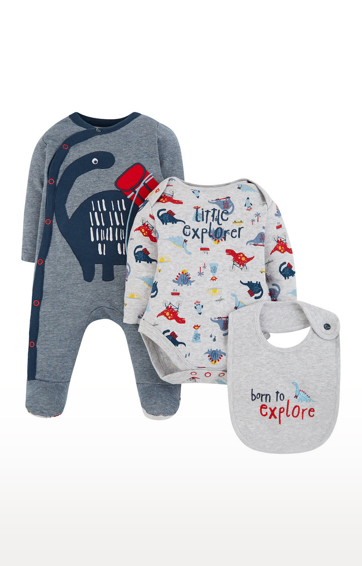 Mothercare | Blue Printed Romper and Bib Set