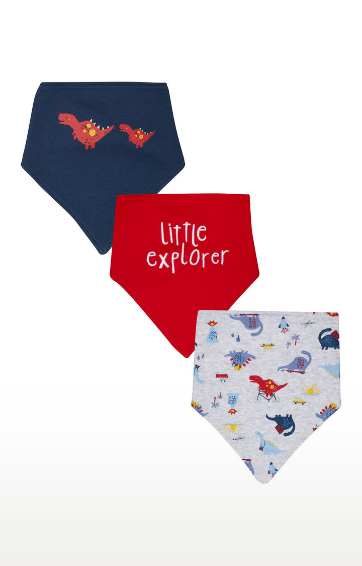 Mothercare | Blue, Red and White Printed Bibs - Pack of 3