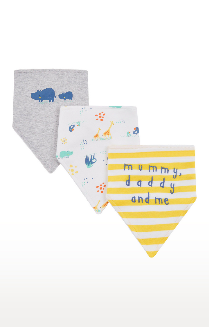 Mothercare   Yellow, White and Grey Printed Bibs - Pack of 3