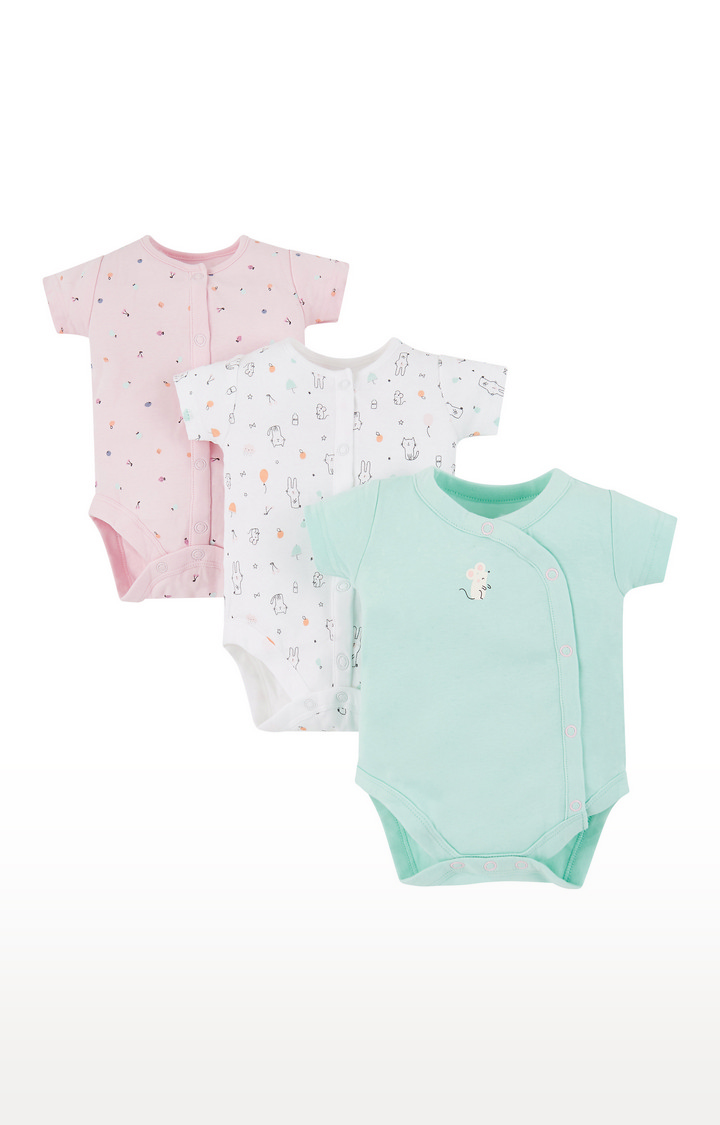 Mothercare | Pink, White and Blue Printed Romper - Pack of 3
