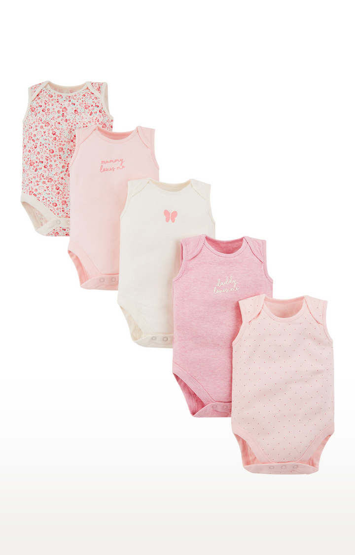 Mothercare | White and Pink Printed Romper - Pack of 5