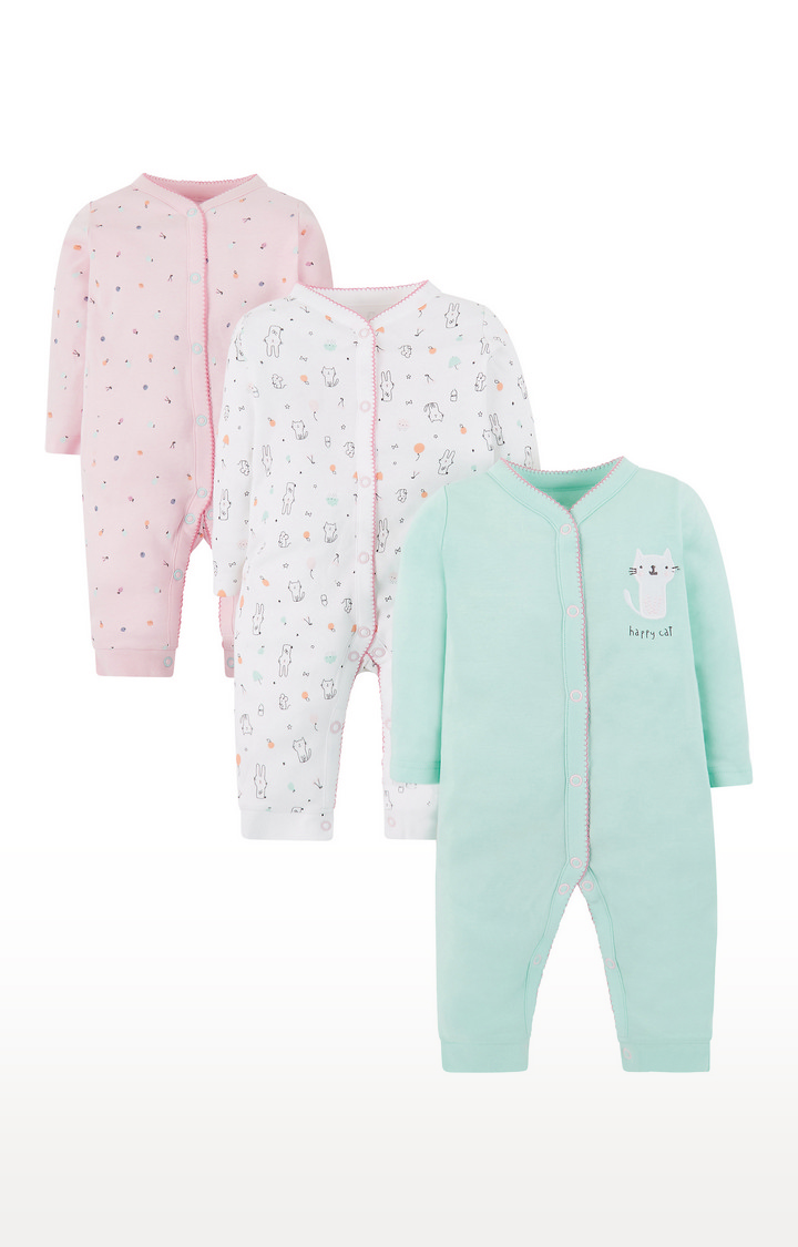 Mothercare   Green, White & Pink Printed Nightsuit - Pack of 3
