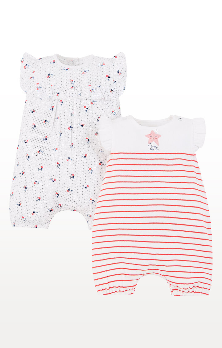 Mothercare | Floral and Stripe Rompers -Pack of 2