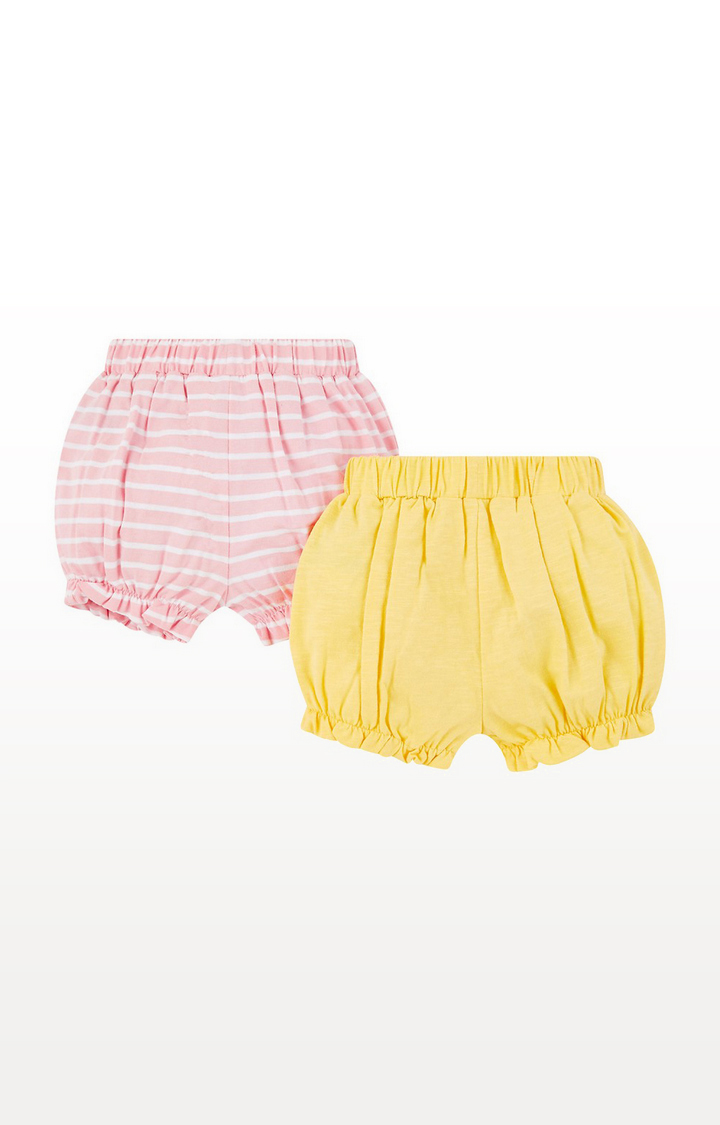 Mothercare | Yellow And Pink Stripe Shorts  2 Pack