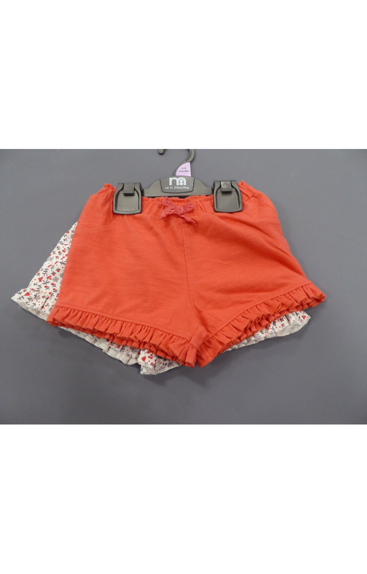 Mothercare | White and Orange Printed Shorts - Pack of 2
