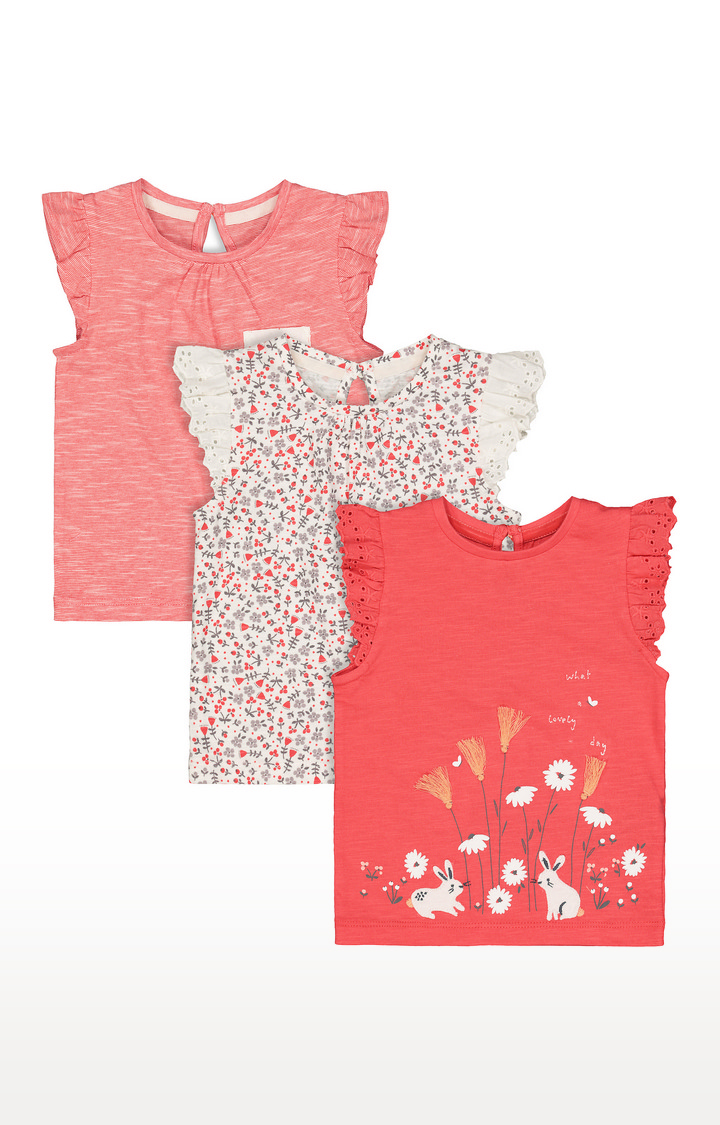 Mothercare | White & Orange Printed Top - Pack of 3