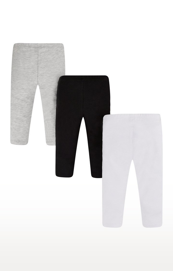 Mothercare   White, Grey and Black Solid Trousers - Pack of 3