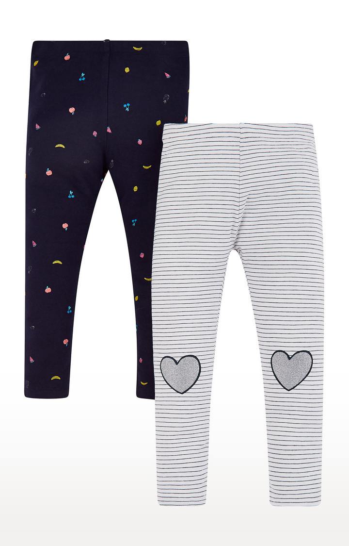 Mothercare   White and Black Printed Trousers - Pack of 2