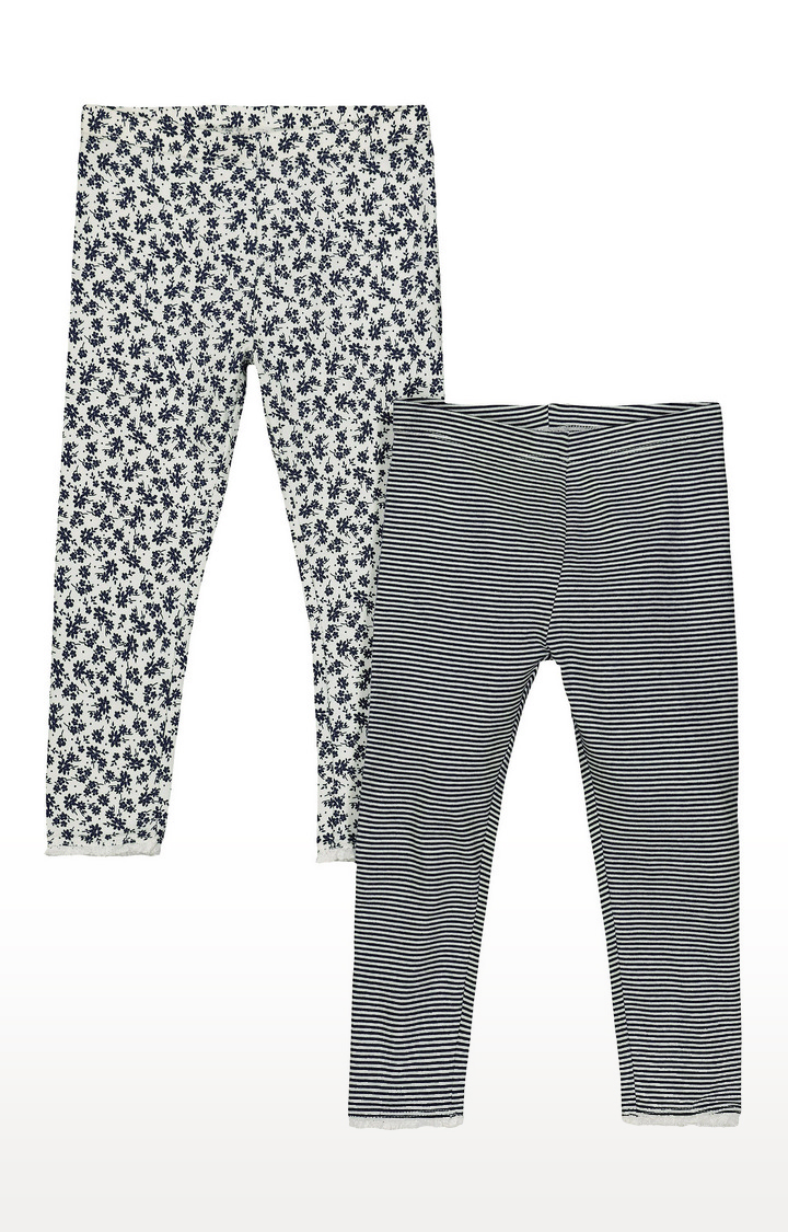 Mothercare   White and Blue Printed Trousers - Pack of 2