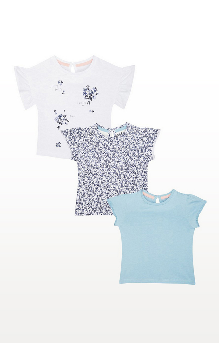 Mothercare   Cream And Floral T-Shirts 3 Pack