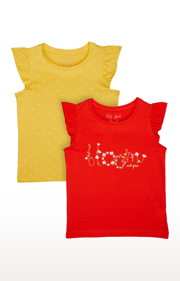 Mothercare | Orange and Yellow Printed Top - Pack of 2