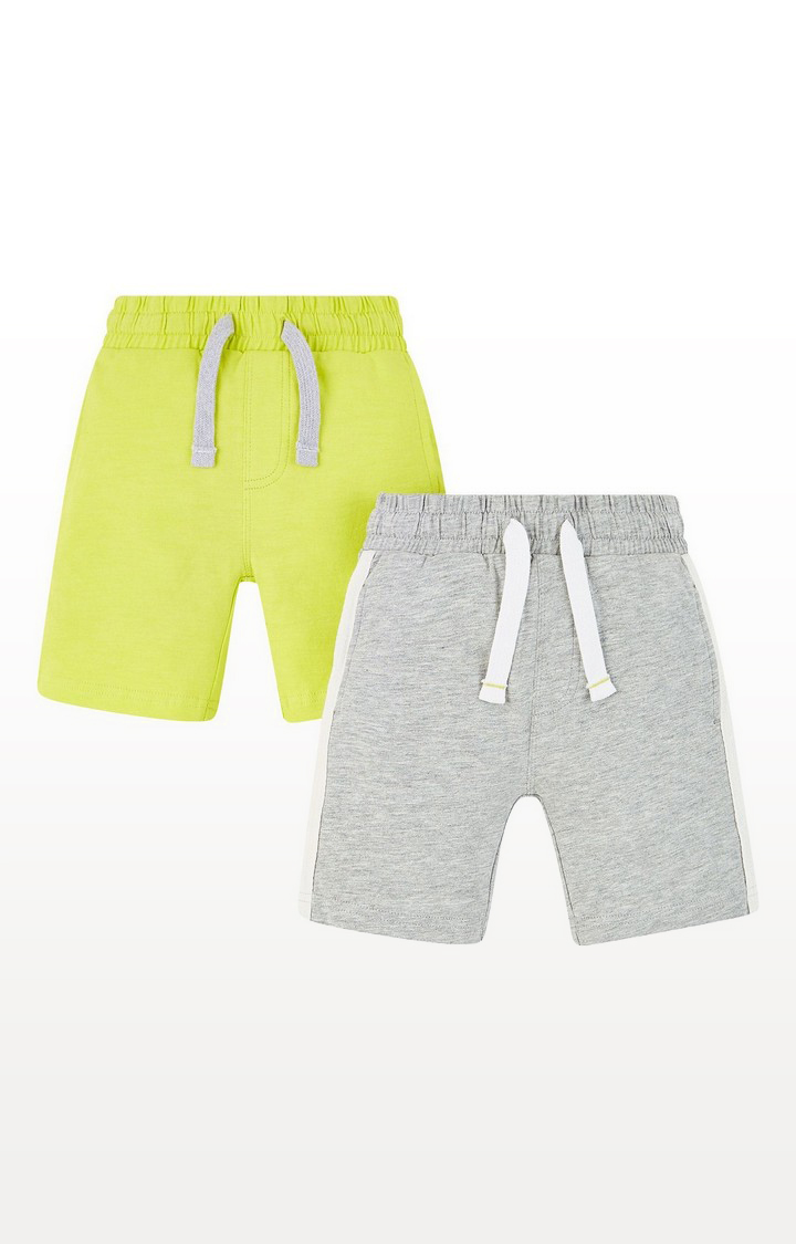 Mothercare | Grey And Lime Shorts - 2 Pack