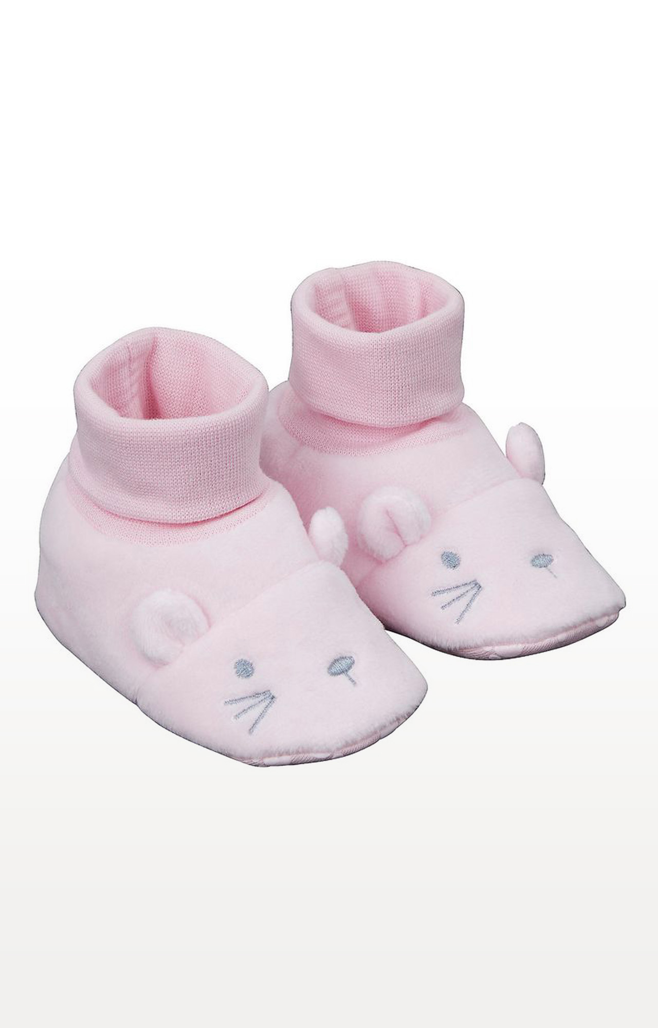 Mothercare | Pink Printed Novelty Mouse Socktop Booties