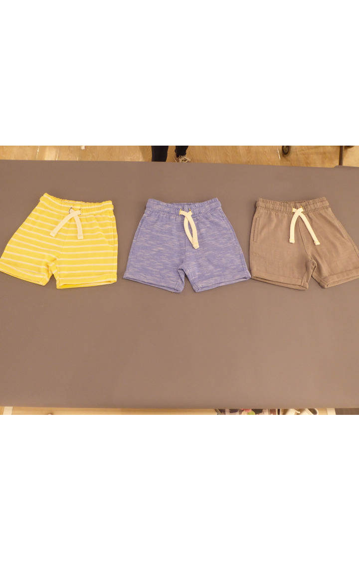 Mothercare | Yellow, Blue & Beige Melange Shorts - Pack of 3