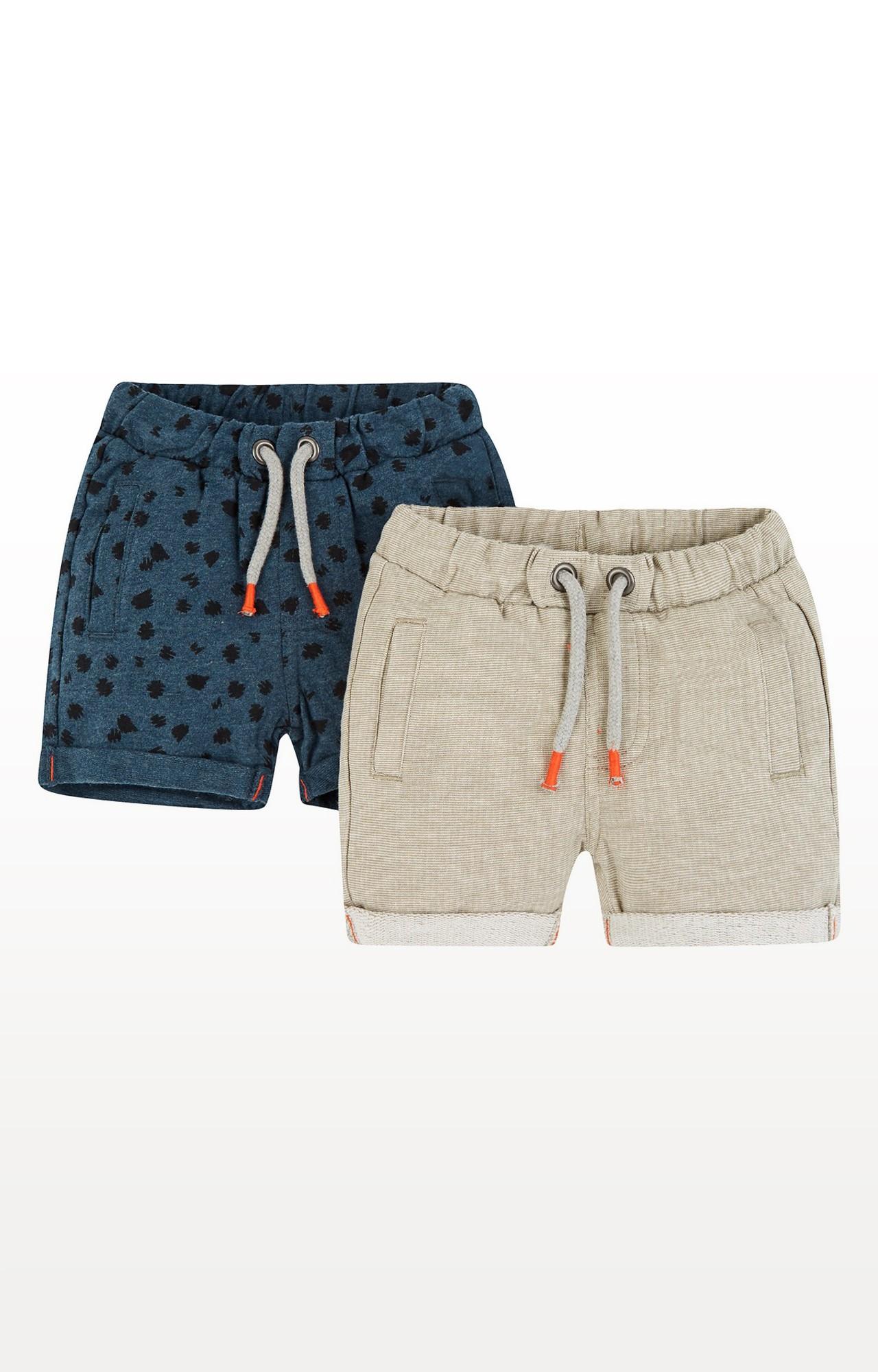 Mothercare | Grey & Navy Melange Shorts - Pack of 2