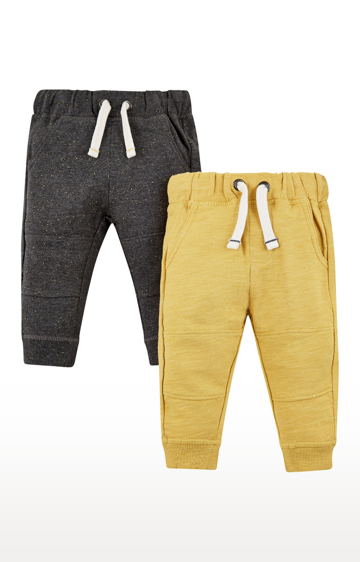 Mothercare | Yellow & Charcoal Melange Joggers - Pack of 2